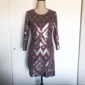 Express Mauve Aztec Sequin Embellished Dress